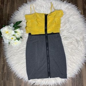 • BCBG Mazazria Gray & Yellow Ruffle Dress •